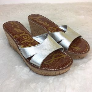 Sam Edelman Reid Wedge Sandals Size 9 M Silver